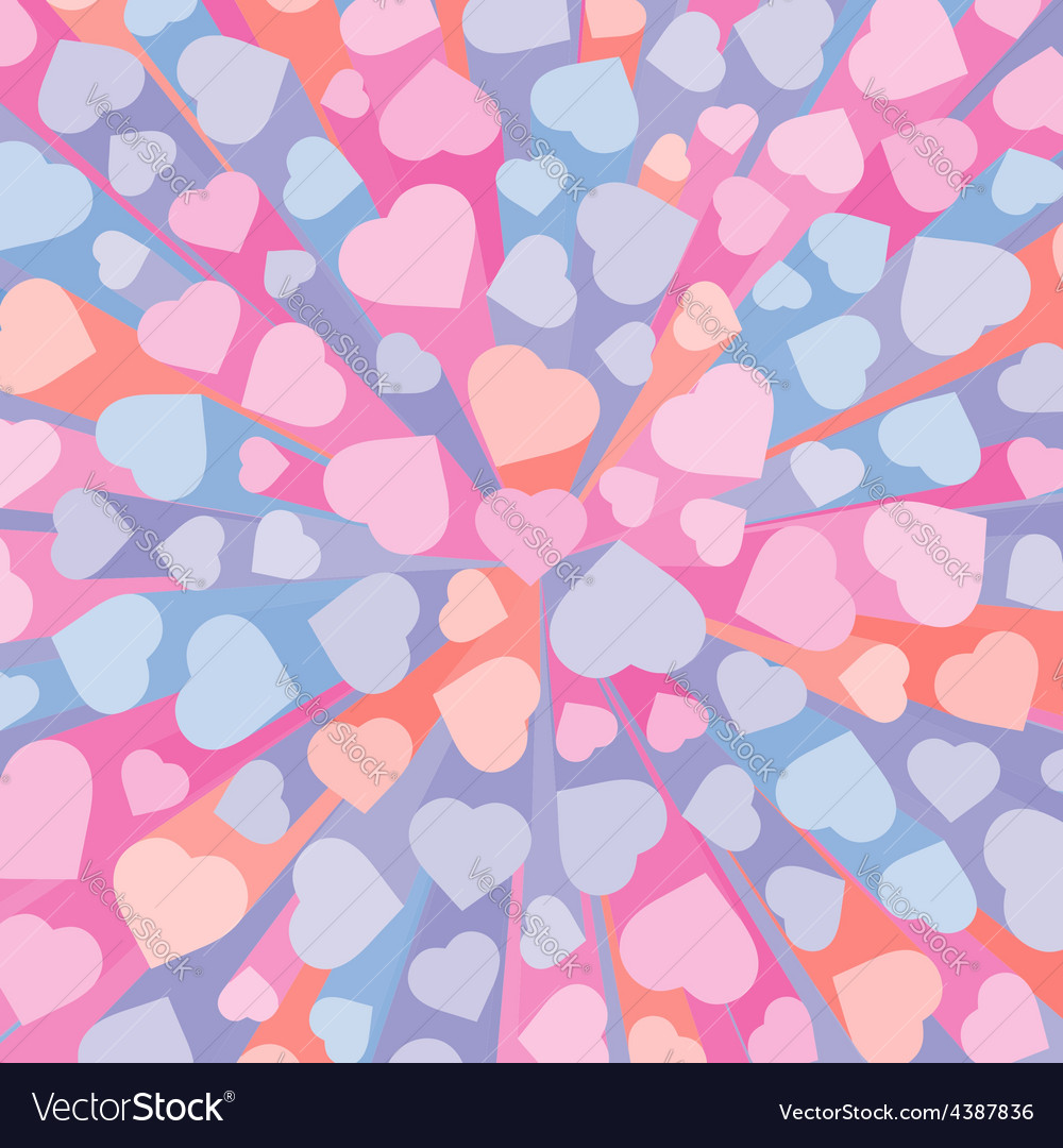 Abstract 3D background with colorful hearts vector image