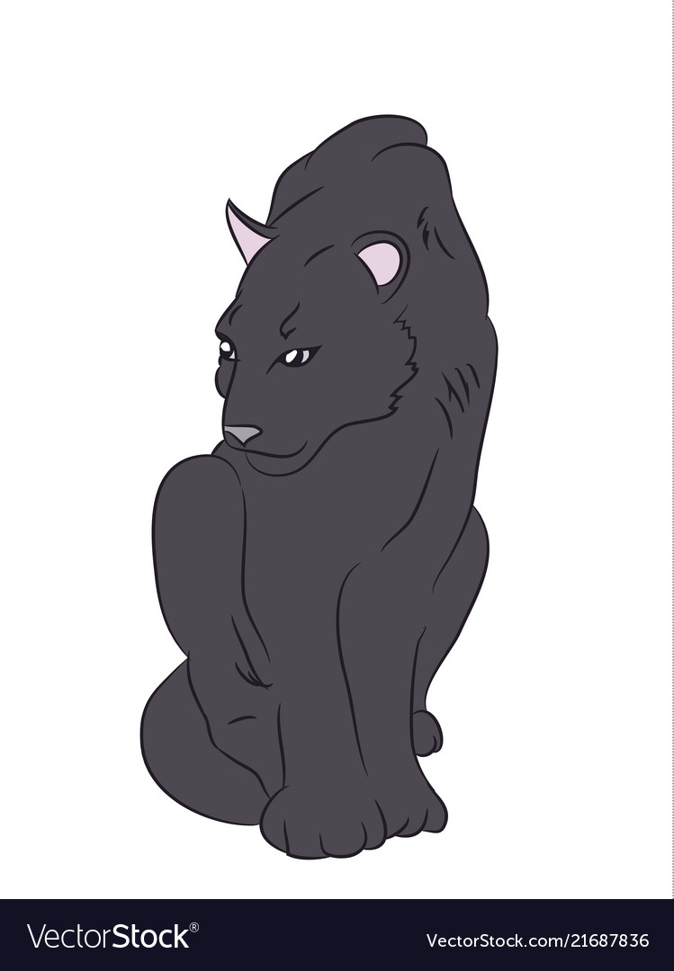 Black panther sits white background