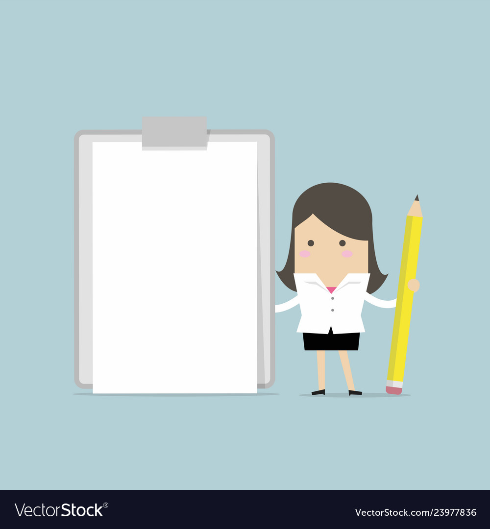 Businesswoman holding clipboard with blank paper