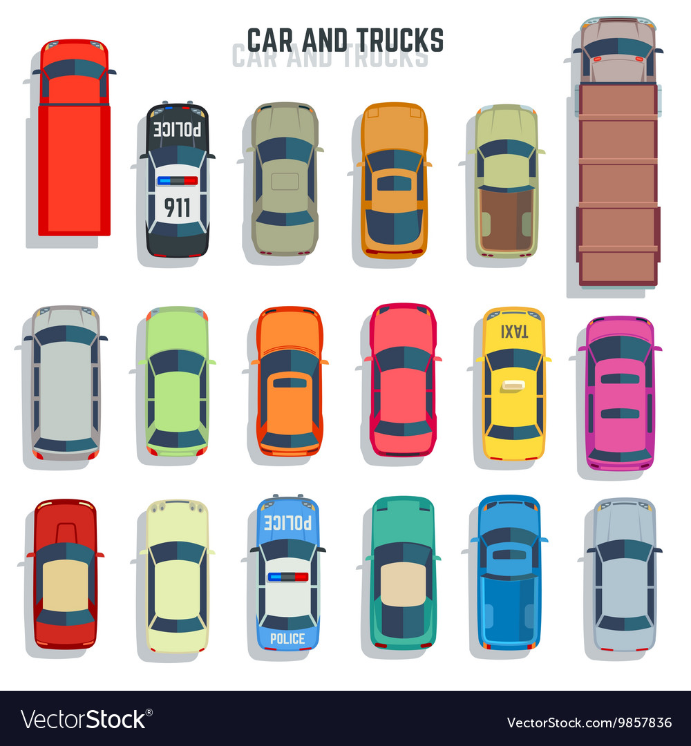 Cars and trucks top view flat icons set