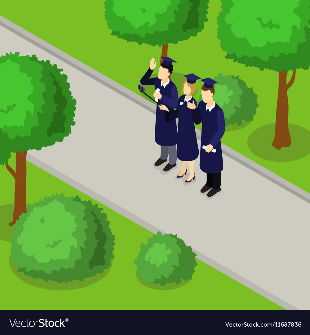Education Student Isometric Composition