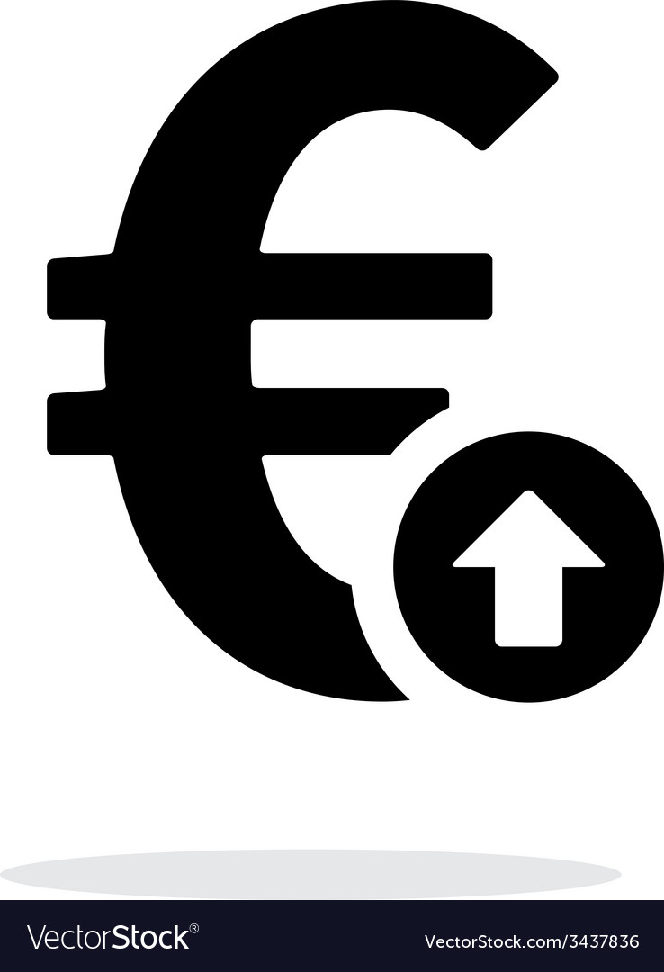 Euro Exchange Rate Up Icon On White Background Vector Image