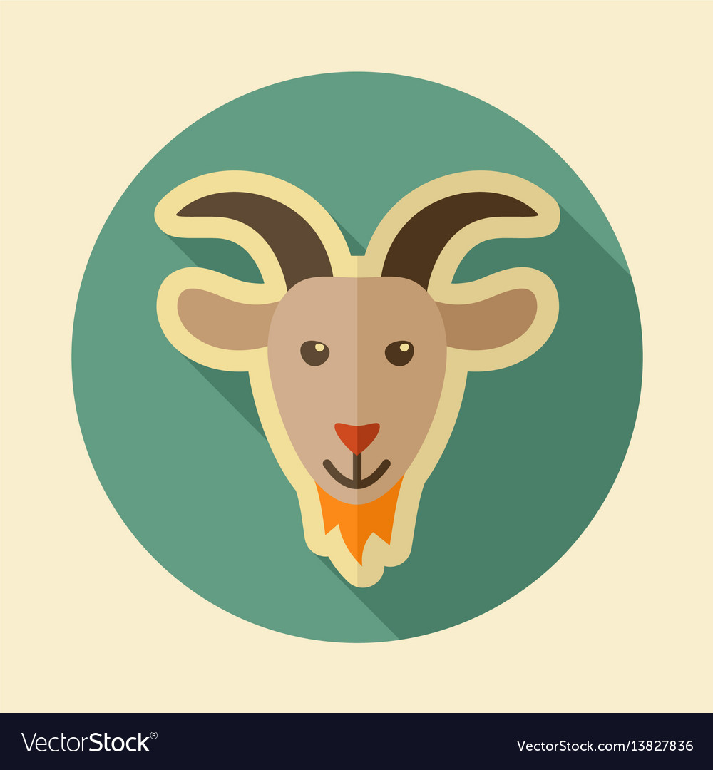 Goat flat icon animal head vector image
