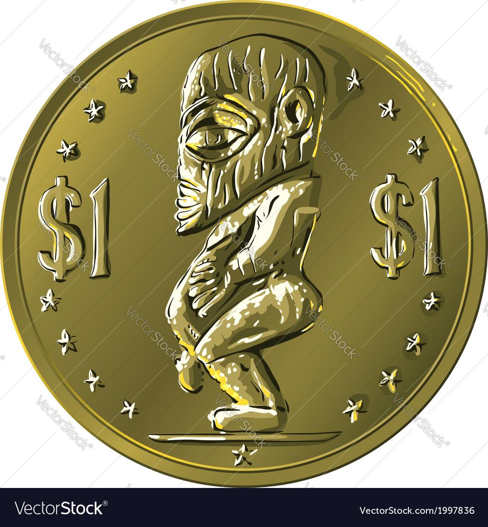 Money gold coin Cook Islands Dollar