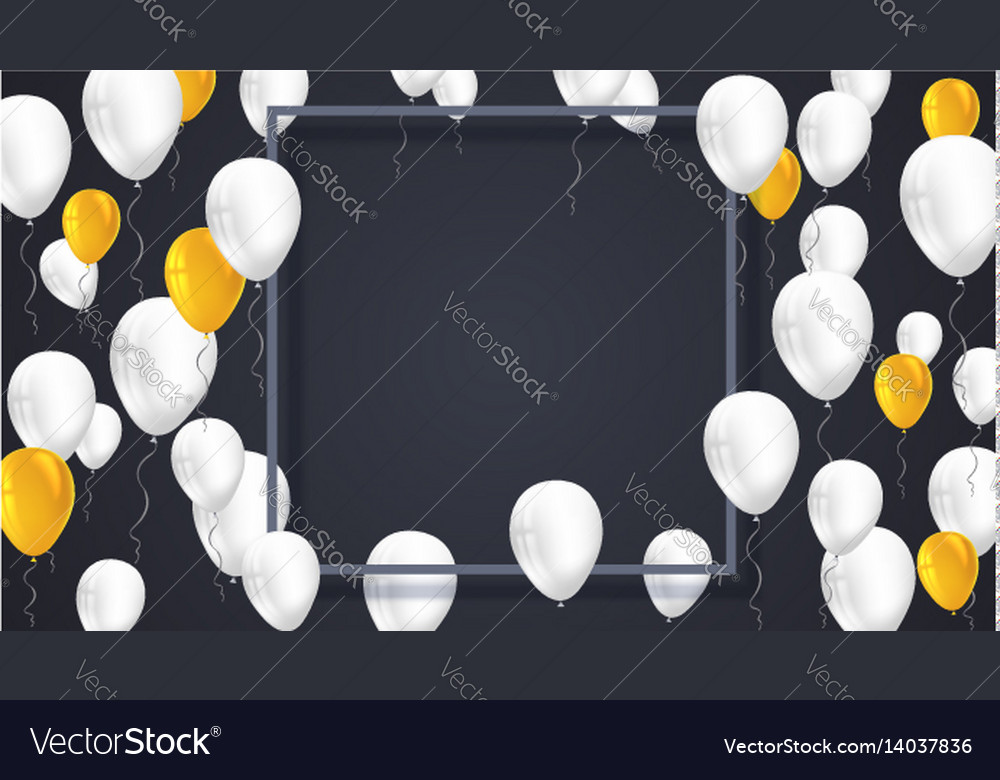 Poster background with white yellow balloons and vector image