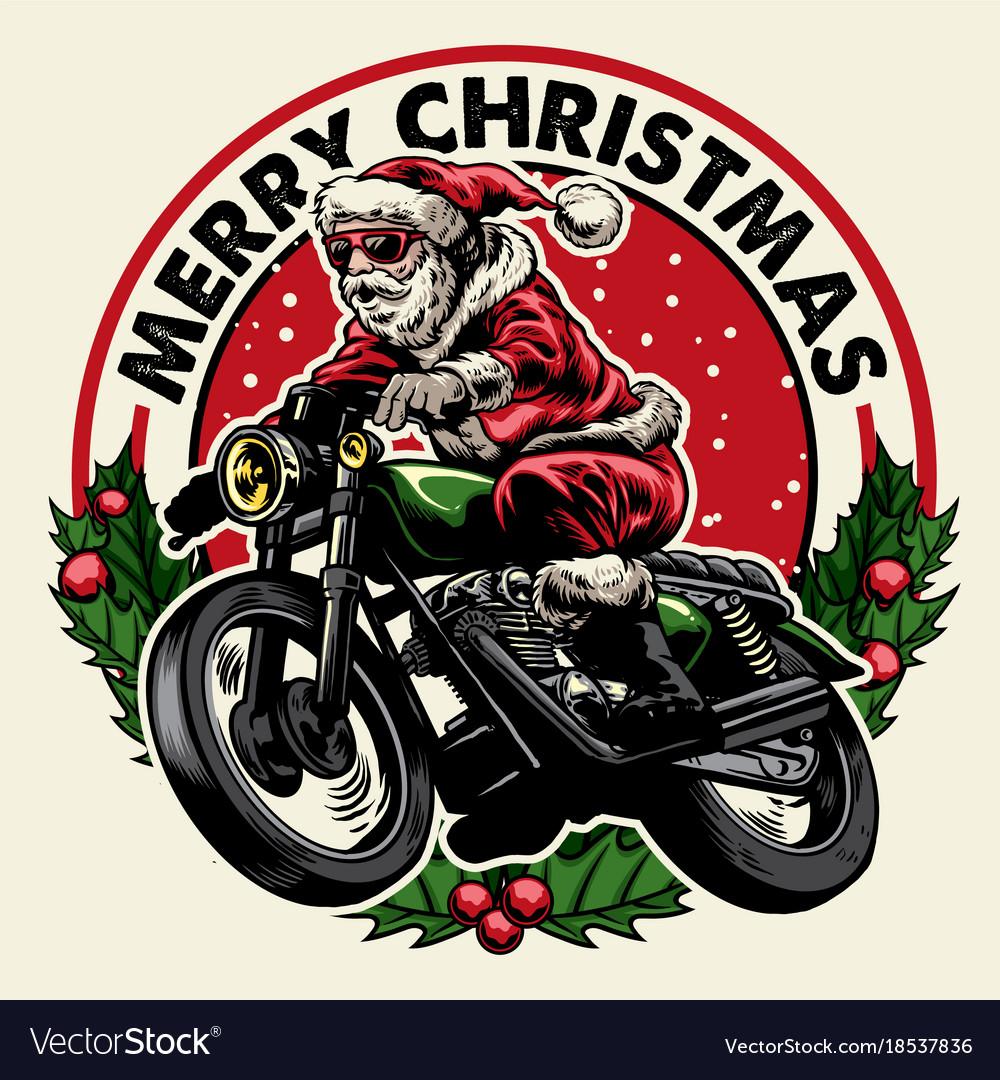 Santa claus riding motorcycle badge