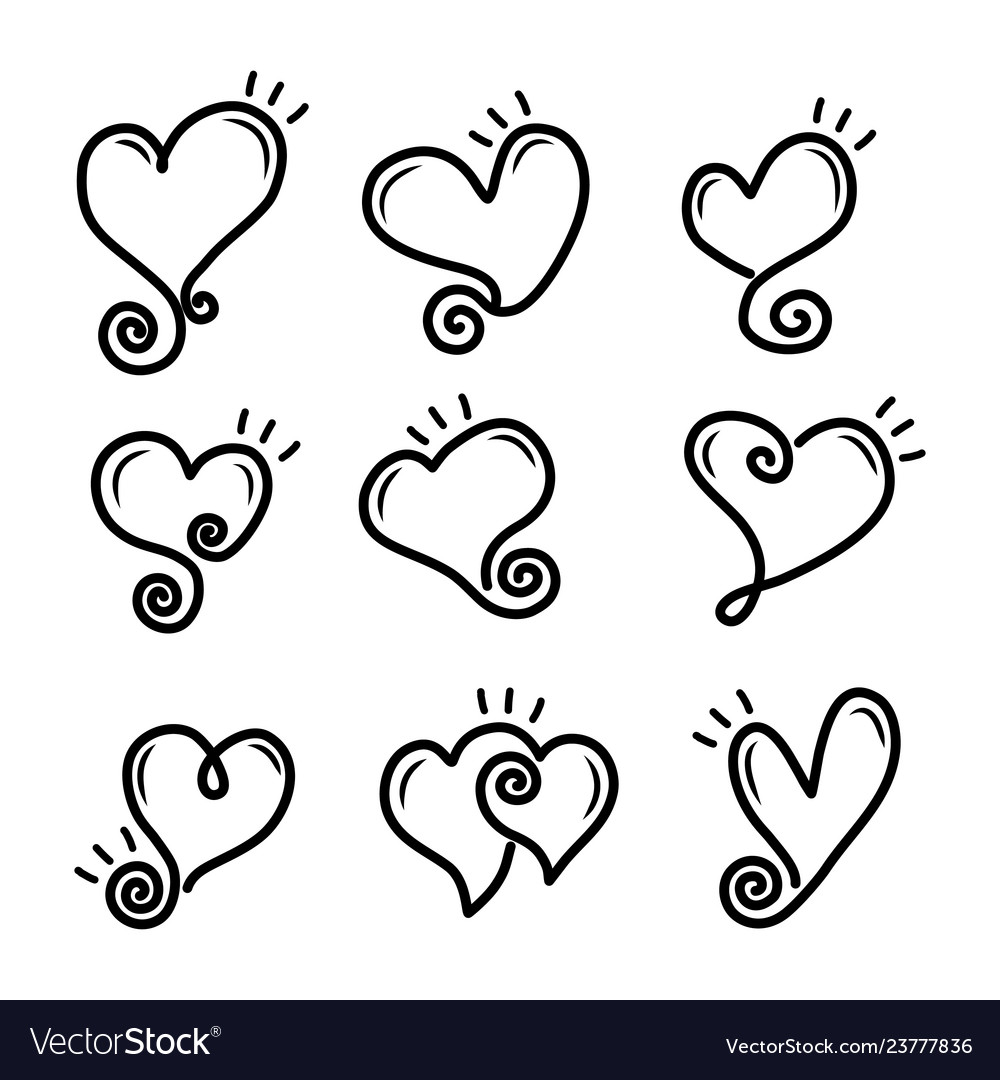 Set of outline hand drawn heart