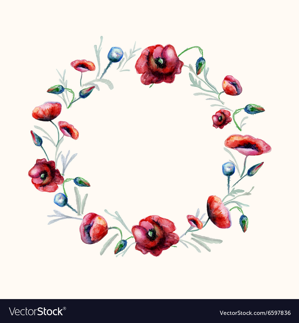 Watercolor red poppies wreath