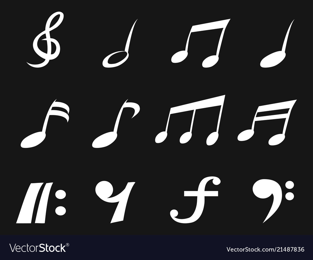 White freehead music note icons