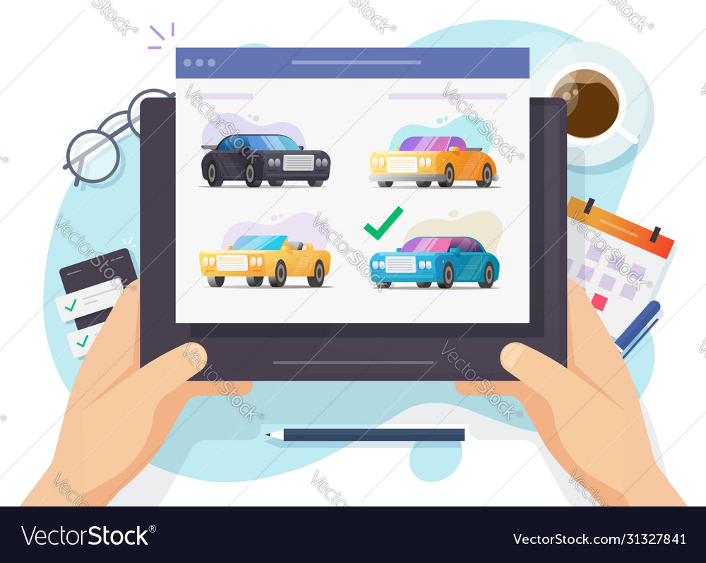 Auto And Car Auction Online Website Or Rental Vector Image