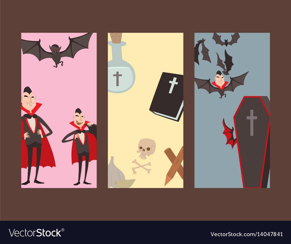 Cartoon dracula cards symbols vampire icons vector image