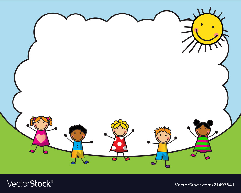 Cartoon kids jumping on the background of sky