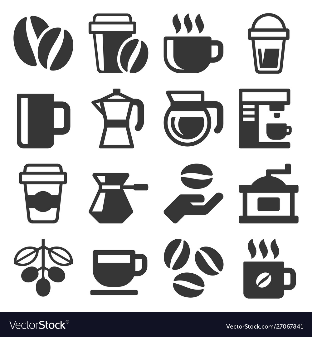 Coffee icons set on white background