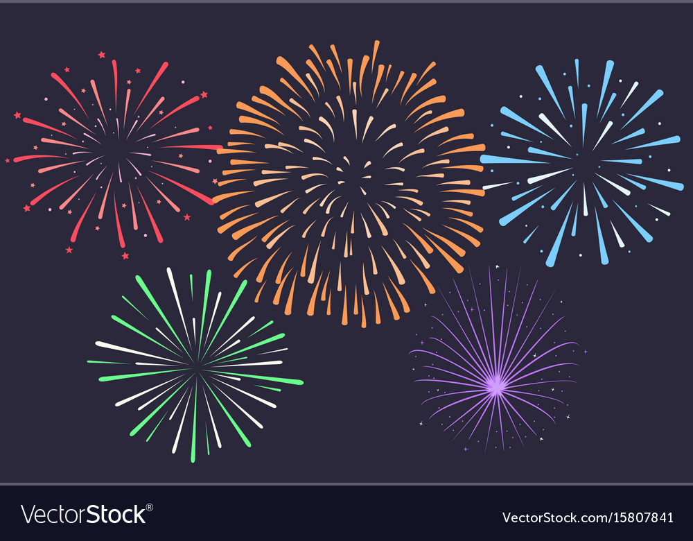 firework on night background anniversary vector image rh vectorstock com Fireworks Vector Transparent American Fireworks