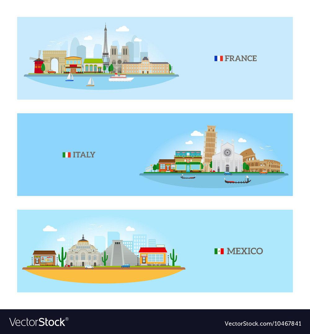France Italy and Mexico skyline
