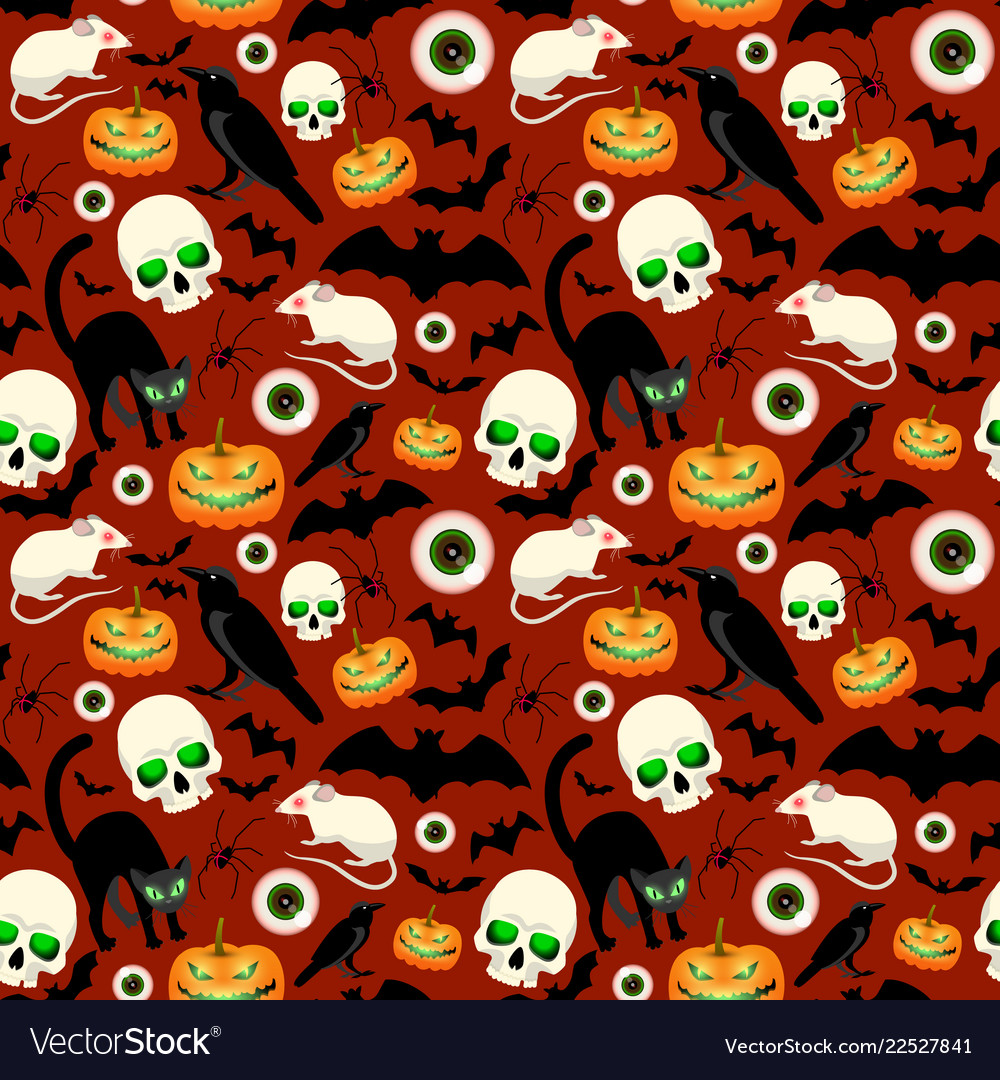 Halloween seamless pattern with different symbols