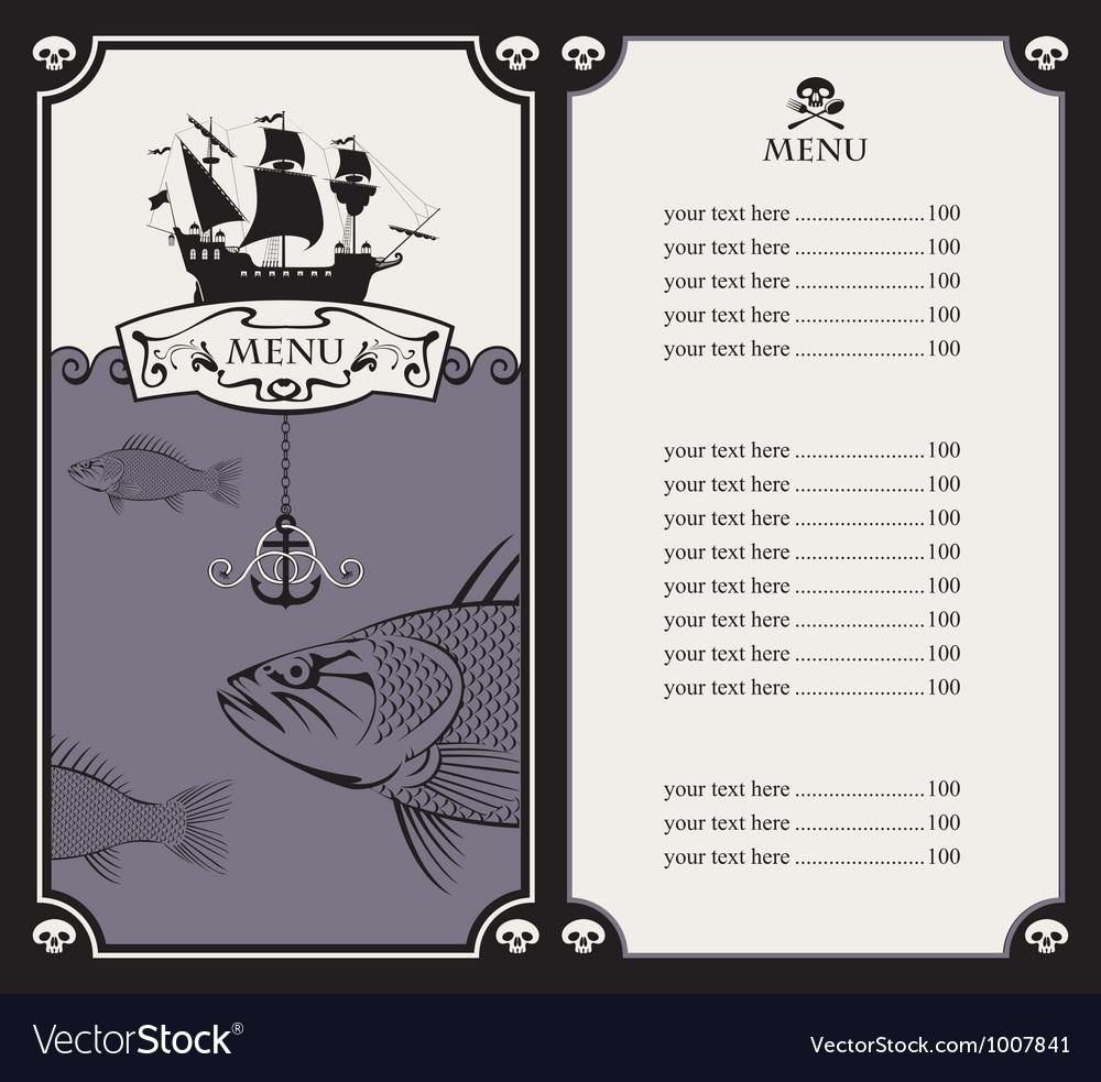 Menu with sailboat