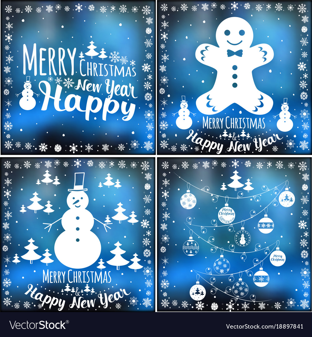 merry xmas and happy new year cards set vector image