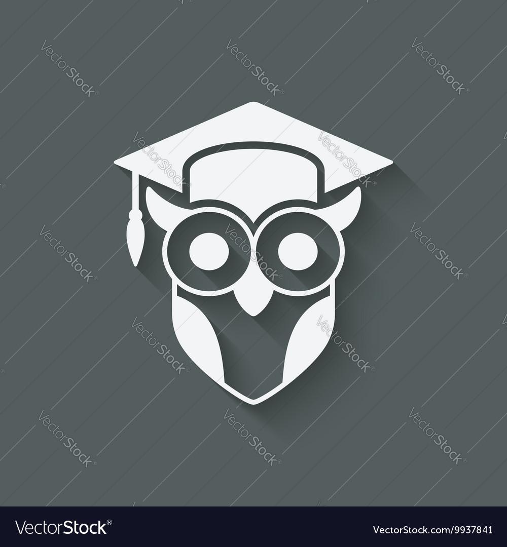 Owl in graduation cap wisdom symbol