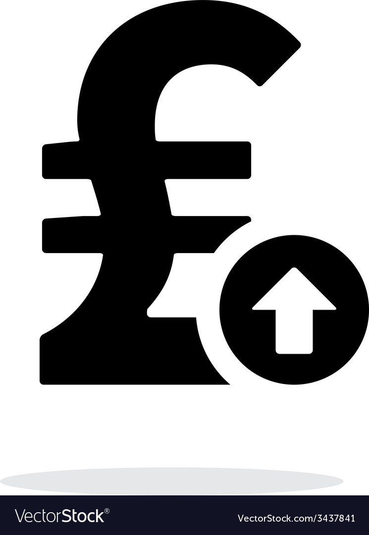 Pound Sterling Exchange Rate Up Icon On White