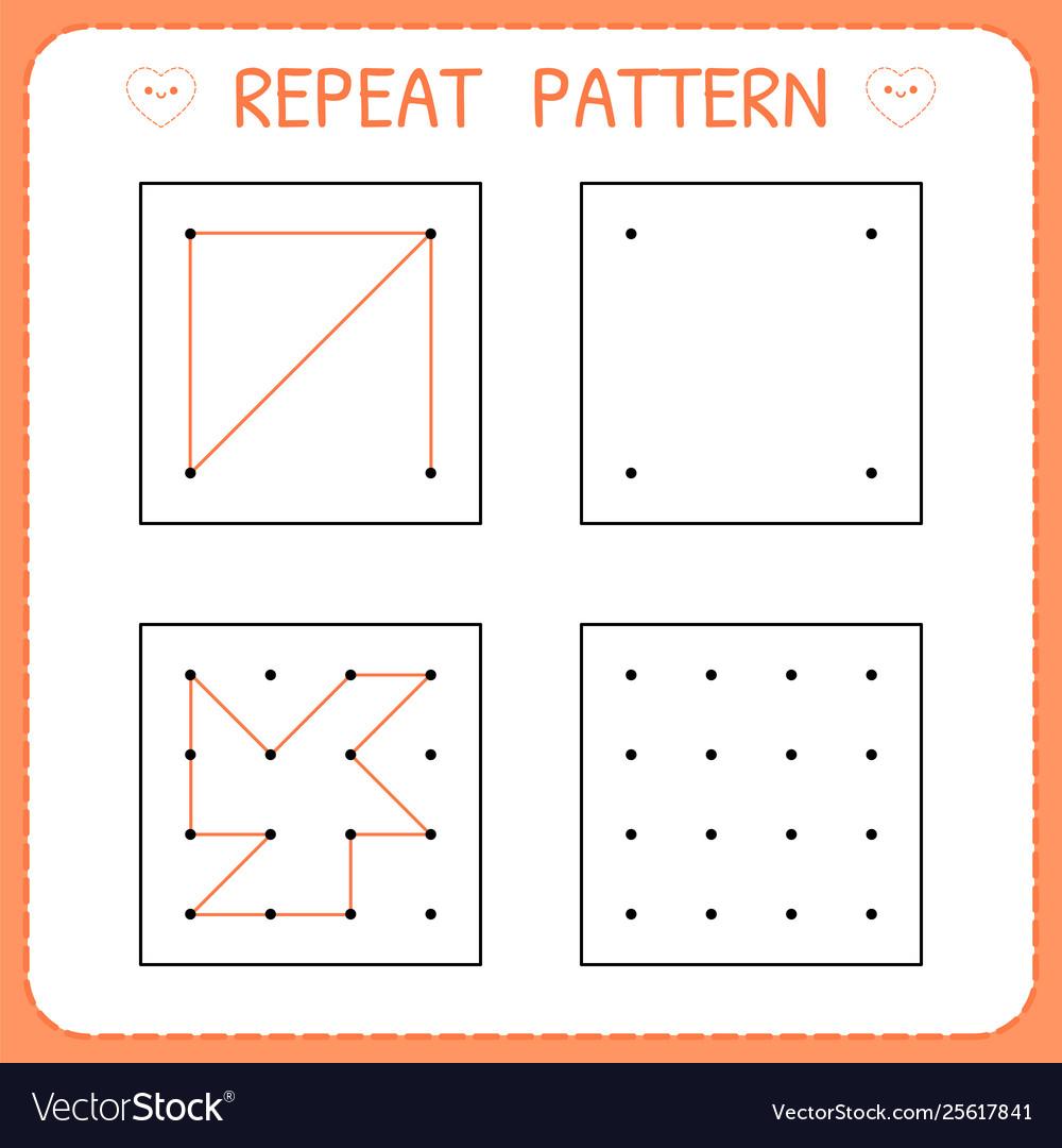 - Repeat Pattern Worksheet For Kindergarten And Vector Image