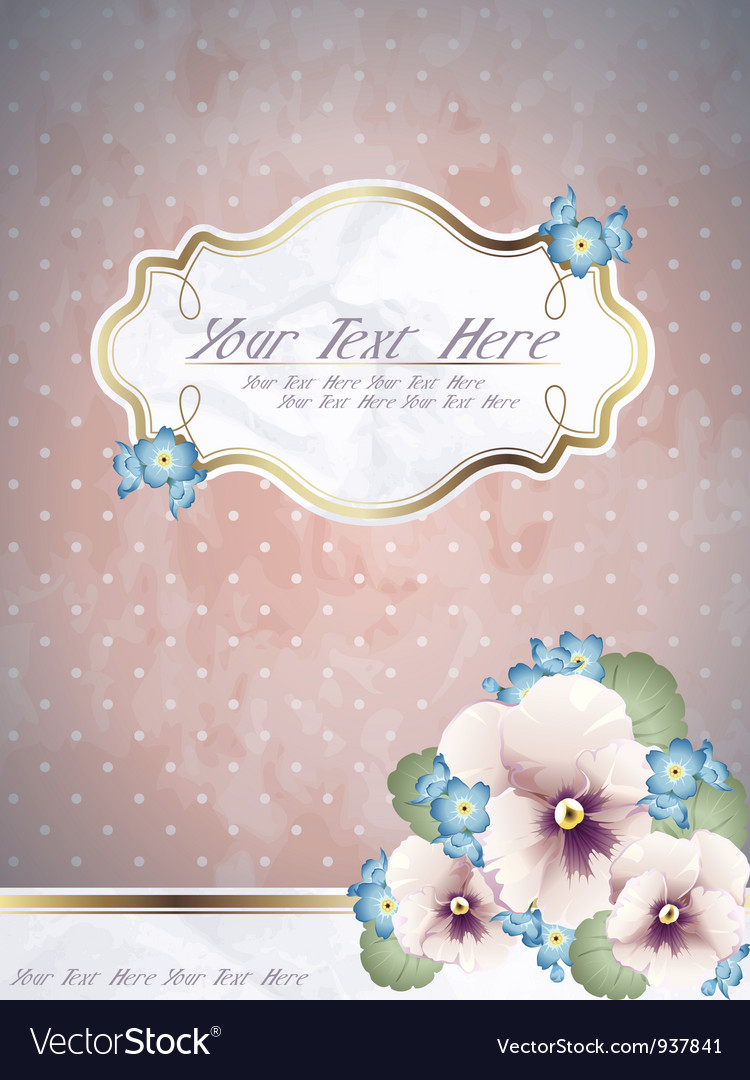 Romantic pink vintage banner with flowers