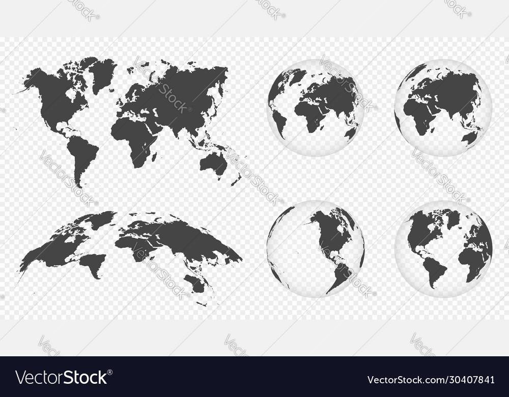 Set transparent globes earth world map