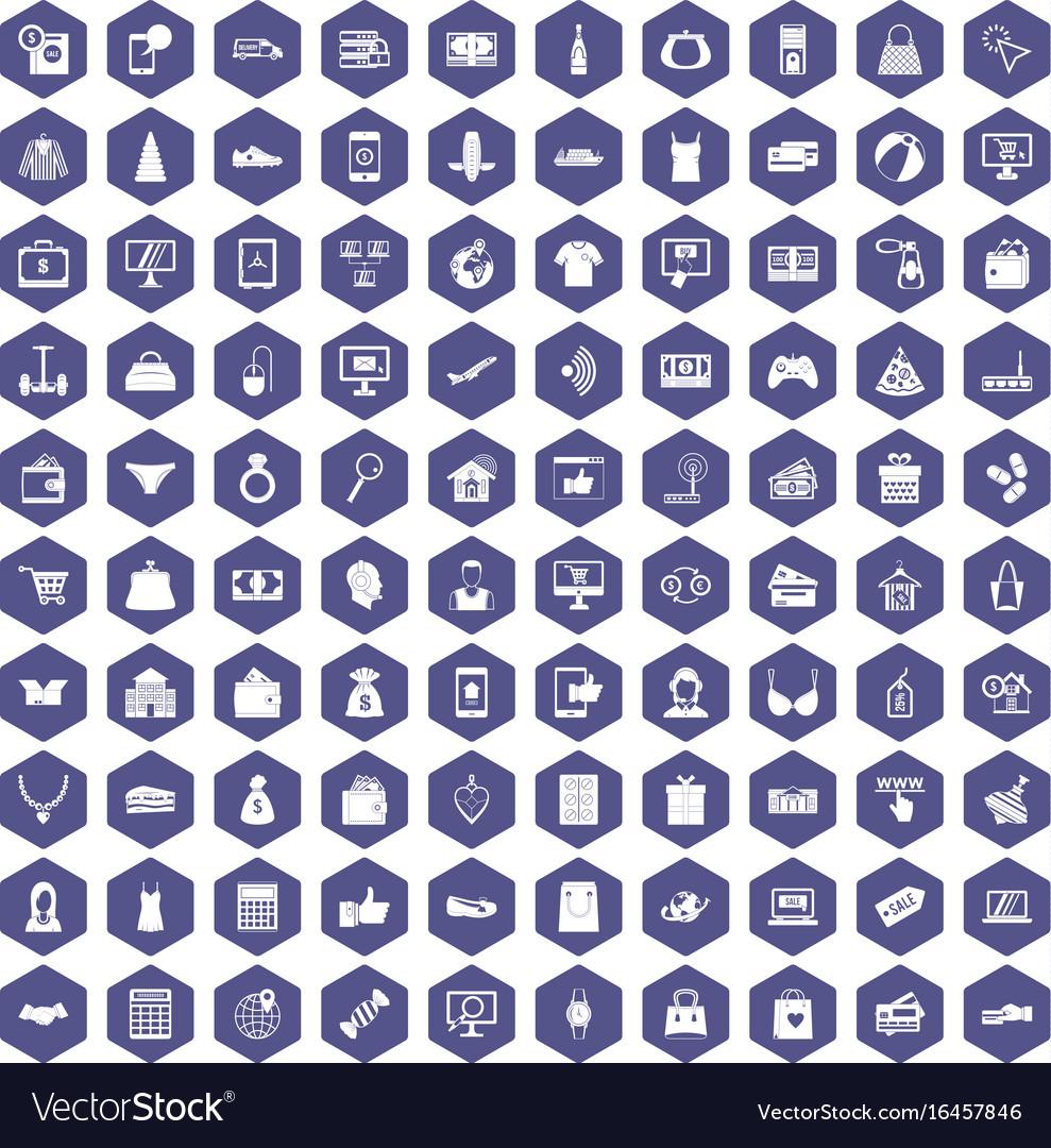 100 online shopping icons hexagon purple