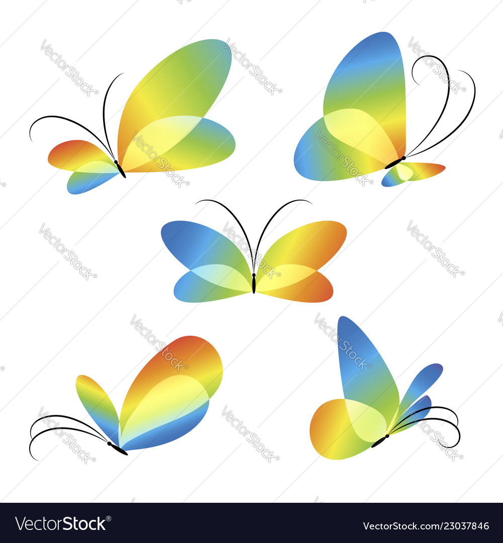 Abstract colorful different butterflies set
