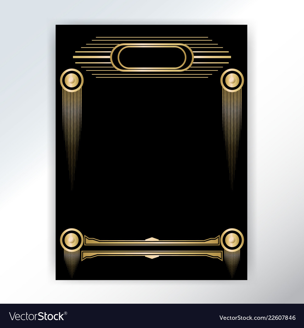 Beautiful art deco techno golden black page