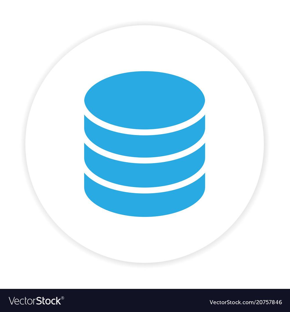 Blue database icon circle frame white background v