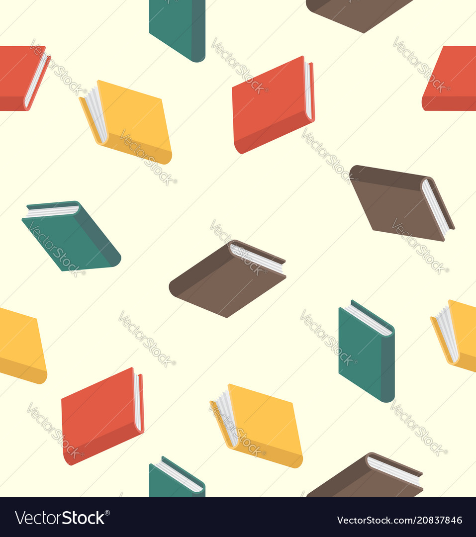 Books pattern seamless colored in flat style