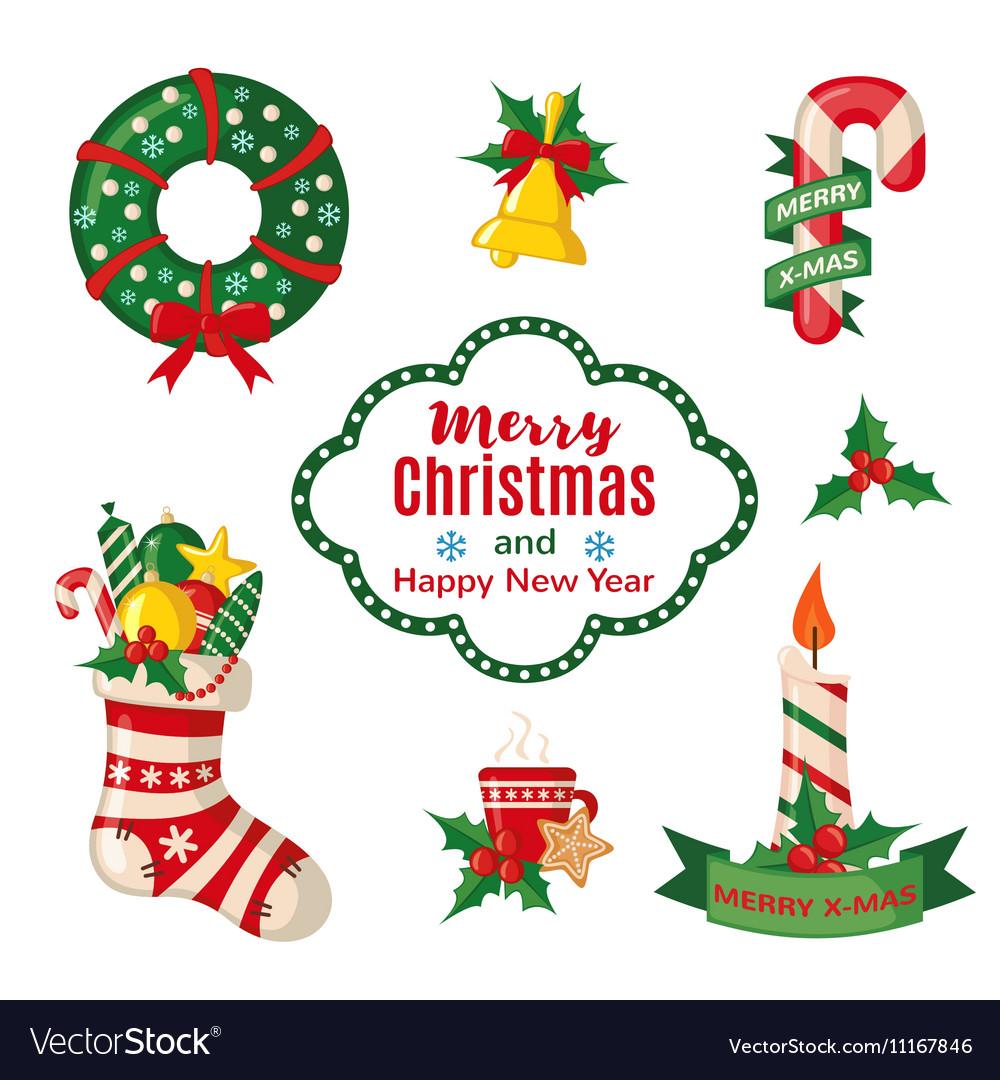 Christmas set with traditional symbols
