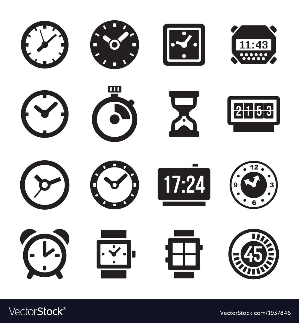 Clocks Icons Set on White Background vector image