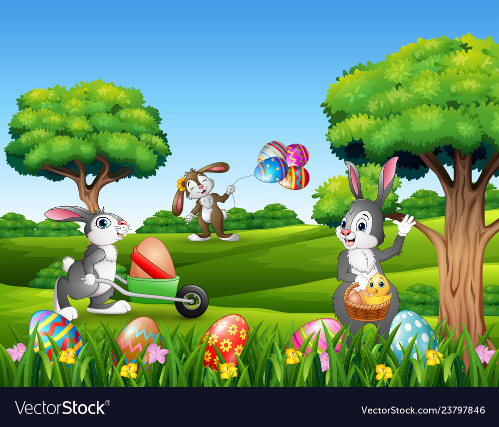 Easter background with cartoon rabbits playing in
