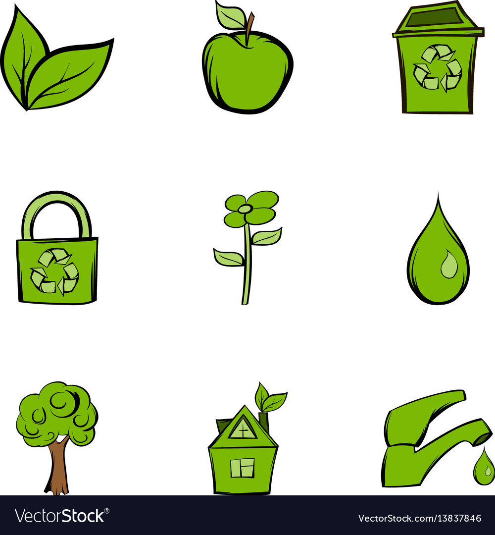 Environment protection icons set cartoon style