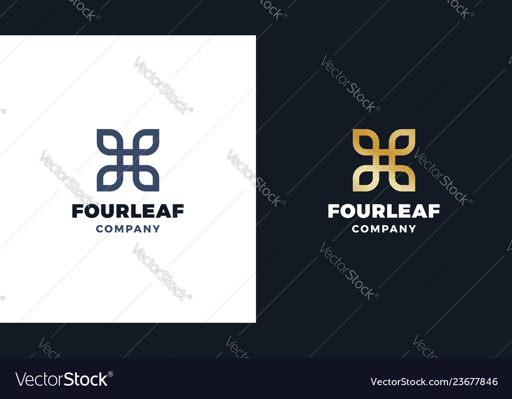 Four leaves logotype template positive and