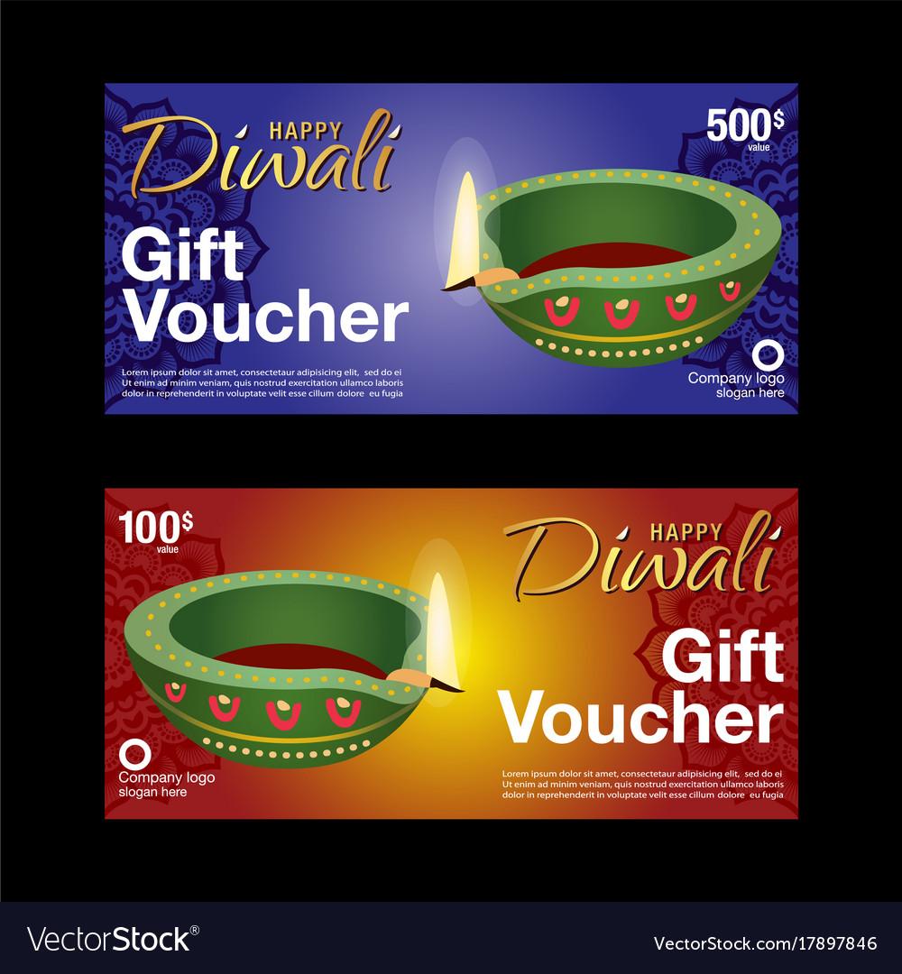 Gift voucher template for diwali festival