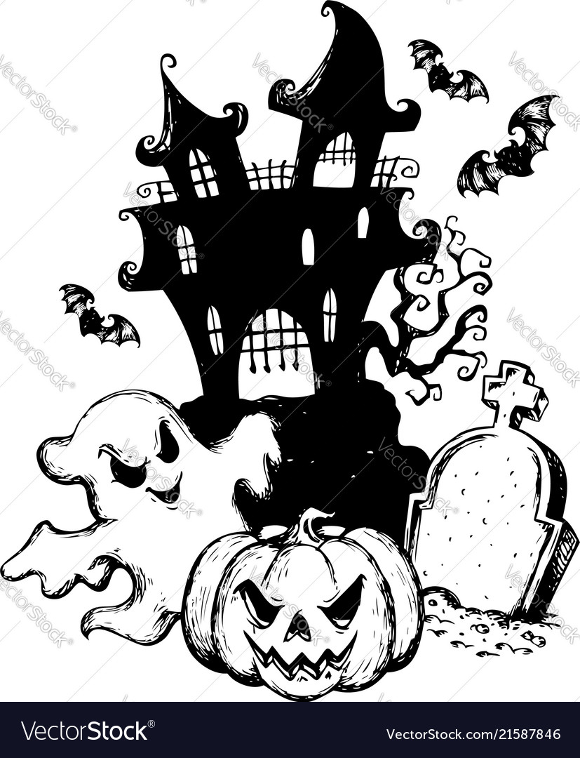 halloween theme drawing 1 royalty free vector image