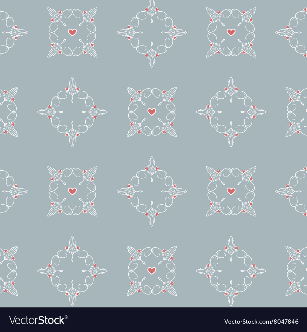 Hearts and lines simple pattern vector image