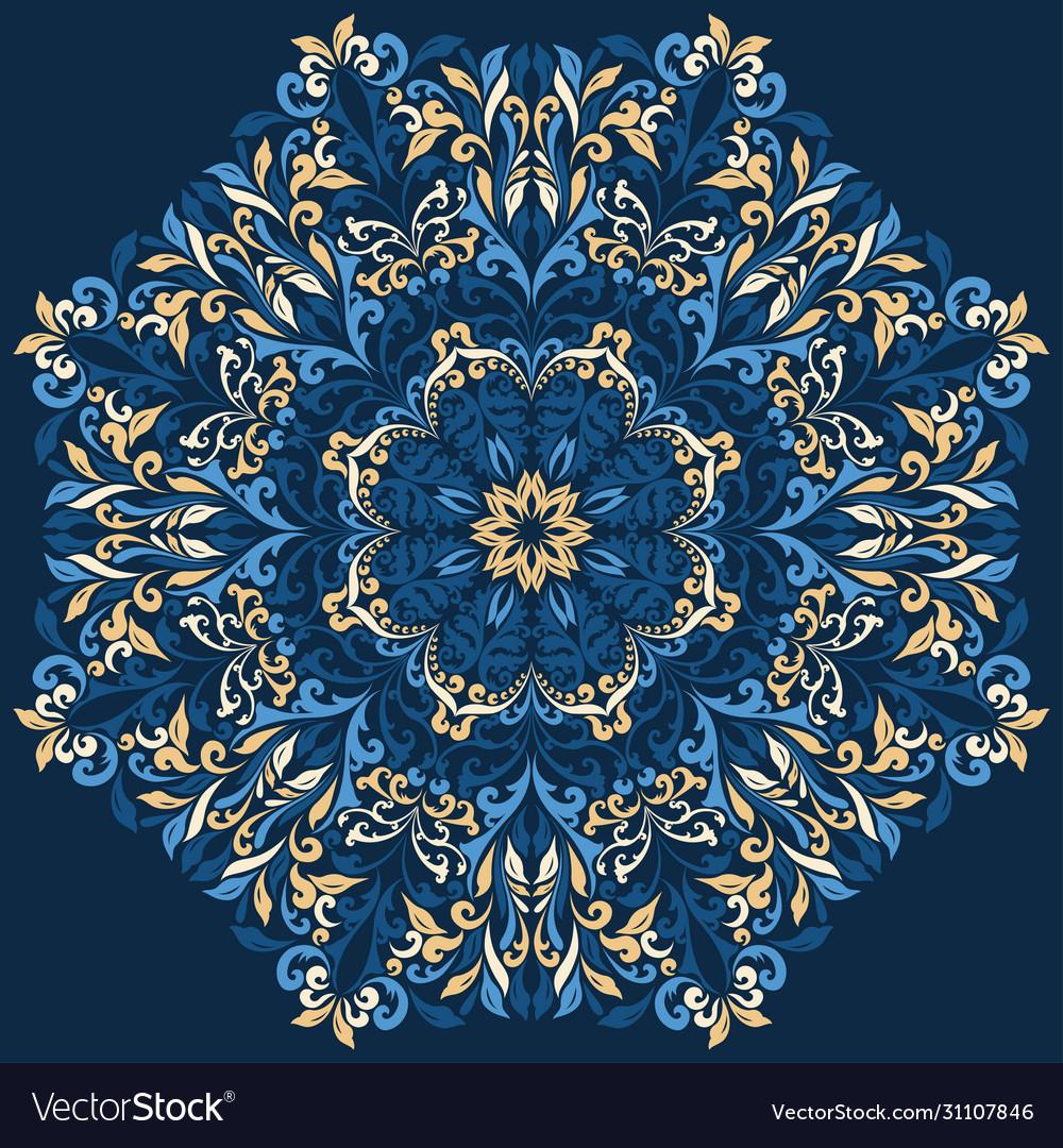 Retro blue boho floral pattern background