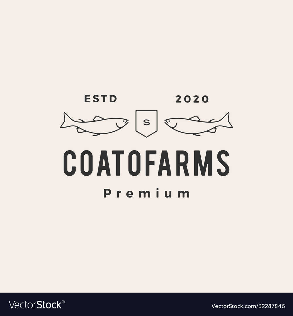 Salmon coat arms hipster vintage logo icon