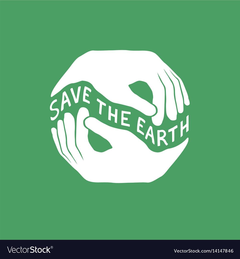 Save the earth earth day concept logo design vector image