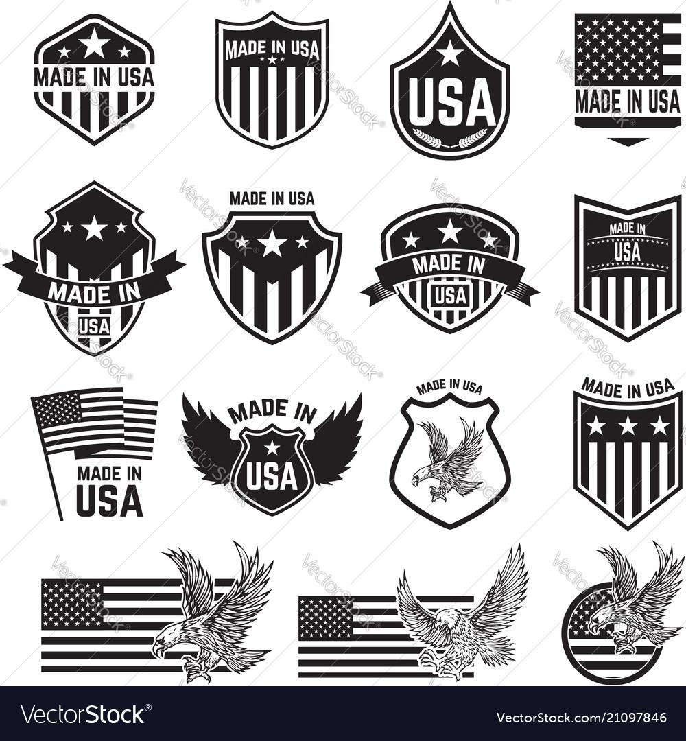 Set emblems with usa signs design elements
