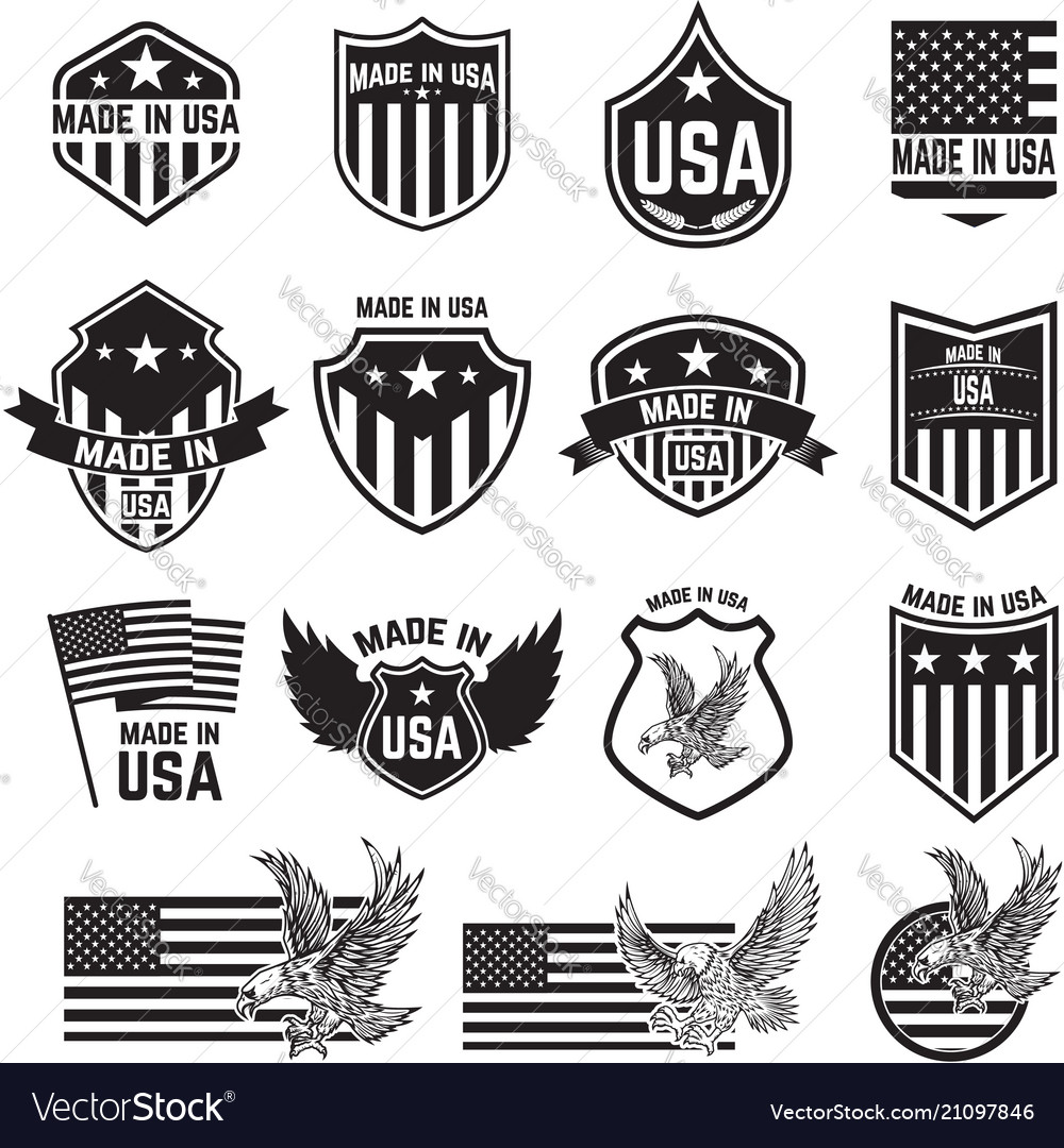 Set of emblems with usa signs design elements for