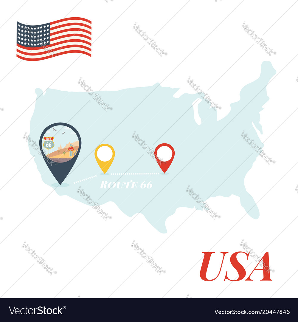 Route 66 Usa Map.Usa Map With Route 66 Pin Travel Concept Vector Image