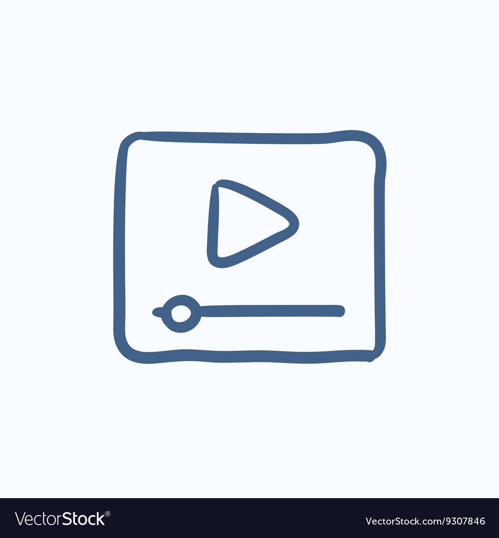 Video player sketch icon