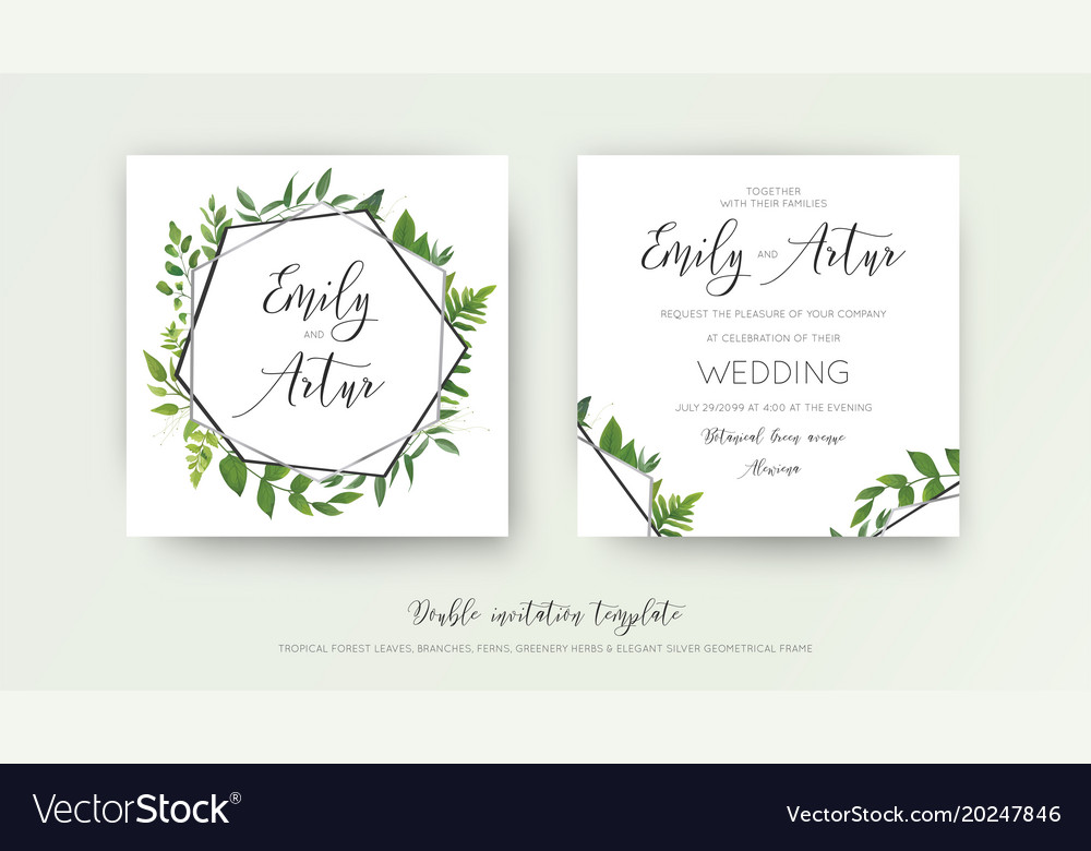 Wedding floral geometrical double invite card