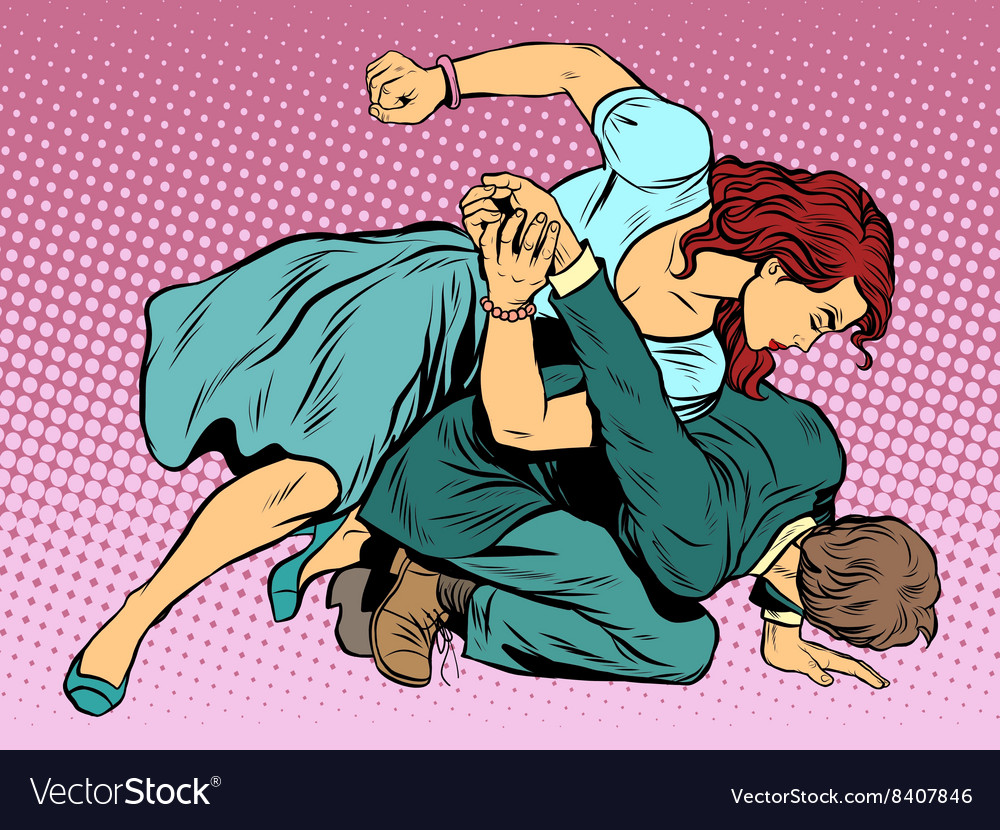 Woman beats man in fight vector image