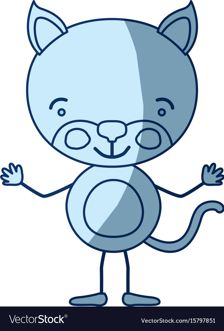 Blue color shading silhouette caricature of kitten
